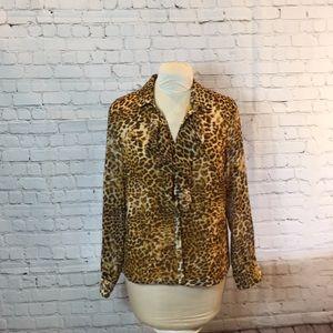 Evan Picone animal print blouse w ruffle neckline